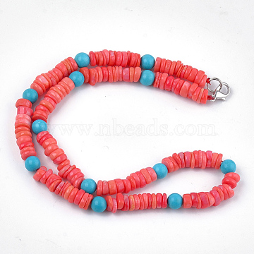 Sea Bamboo Coral(Imitation Coral) Beaded Necklaces, with Synthetic Turquoise Beads and Brass Lobster Claw Clasps, Tomato, 39.7 inches(101cm)(NJEW-S414-43)