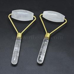 Natural Quartz Crystal Brass Face Massager, Facial Rollers, Golden, 140.5x62.5x25mm(MRMJ-G010-15)