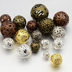 Mixed Style Iron Filigree Beads, Filigree Ball, Round, Mixed Color, 6~16mm, Hole: 0.5~1mm(IFIN-X0031)