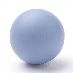 Экологические силиконовые бусины, жевательные бусины для чайников, DIY уход за ожерельем, круглые, светло-синие, 12 мм, отверстие : 2 мм(SIL-R008B-52)