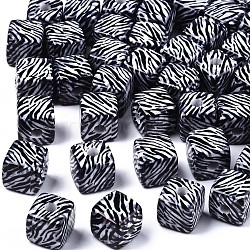 Printed Acrylic Beads, Cube with Zebra Stripe Pattern, Black with White, 12.5x12.5x12.5mm, Hole: 3.5mm(SACR-R253-01)
