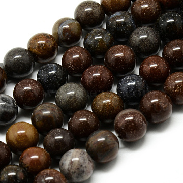 Natural Mookaite Beads Strands, Round, 8~8.5mm, Hole: 1mm; about 47pcs/strand, 15.5inches(G-Q462-48-8mm)
