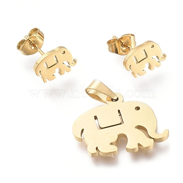 Elephant 304 Stainless Steel Jewelry Sets, Pendants and Stud Earrings, with Ear Nuts, Golden, 15x19x1.3mm, Hole: 4.5x2.8mm; 6.3x9mm, Pin: 0.7mm(SJEW-K154-25G)