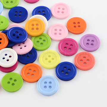 4-Hole Plastic Buttons, Flat Round, Mixed Color, 17x2mm, Hole: 2mm(BUTT-R034-056)
