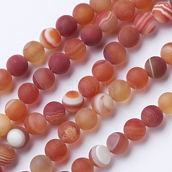 Natural Grade A Striped Agate/Banded Agate Beads Strands, Dyed & Heated, Frosted, Round, DarkSalmon, 8~8.5mm, Hole: 1.2mm; about 39pcs/strand, 14.56''(37cm)