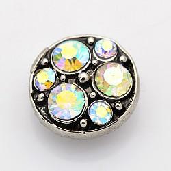 Boutons pression de bijoux avec strass de grade A plat rond en alliage de zinc d'argent antique, Sans cadmium & sans nickel & sans plomb, cristal ab, 13x7 mm; bouton: 4.5 mm(SNAP-O020-06C-NR)