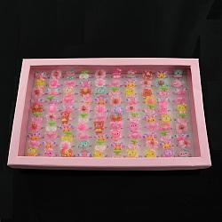 Bijoux de jour des enfants mignons en plastique enfants bagues pour les filles, avec cabochons de résine de style mixte, couleur mixte, 14 mm; 100 pcs / boîte(RJEW-S016-M2)