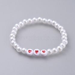"""Bracelets enfants stretch en acrylique imitation perle, avec perles acryliques colorées plates et rondes, blanc, 1-7/8"""" (4.7 cm)(BJEW-JB04576)"""