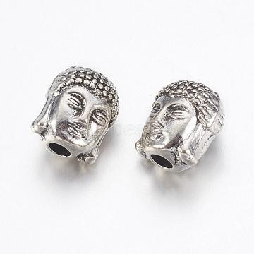 Tibetan Style Alloy Beads, Buddha Head, Antique Silver, 10x8.5x8mm, Hole: 2.2mm(X-PALLOY-K148-01AS)