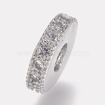 Brass Micro Pave Cubic Zirconia Bead Spacers, Flat Round, Clear, Platinum, 8x2mm, Hole: 3mm(ZIRC-K074-11A-01P)