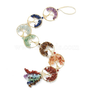 Natural Mixed Stone Car Hanging Decorations, with Nylon Cord and Brass Findings, Round Ring with Tree of Life, 535~560mm(HJEW-L026-01G)