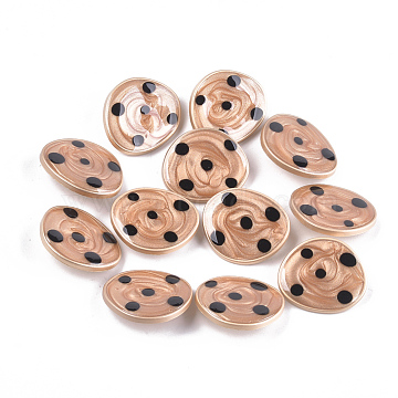 Zinc Alloy Shank Buttons, with Epoxy Resin, Oval, Matte Gold Color, SandyBrown, 21.5x25x7.5mm, Hole: 2mm(BUTT-S023-06B-01)