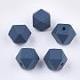 16mm Bleu Acier Polygone Bois Perles(X-WOOD-Q040-017A-03)