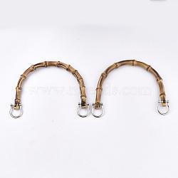 бамбуковые ручки, Сплав с застежками, для замены ремней для мешков, платина, 109~112x150~155x14~15 mm(FIND-T054-01P)