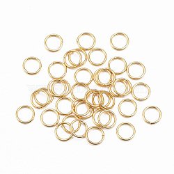 304 Stainless Steel Jump Rings, Close but Unsoldered Jump Rings, Golden, 24 Gauge, 4x0.5mm; Inner Diameter: 3mm(X-STAS-H396-A-01G)