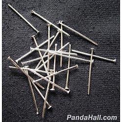 Épingles à tête de fer, argent, 30x0.7 mm; environ 400 pcs / 50 g(X-HPS3.0cm)