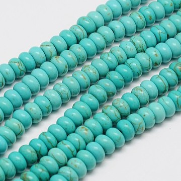 6mm Turquoise Rondelle Synthetic Turquoise Beads