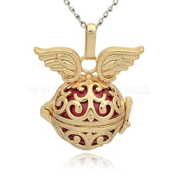 Golden Tone Brass Hollow Round Cage Pendants, with No Hole Spray Painted Brass Round Ball Beads, Round with Wing, Cerise, 31x30x21mm, Hole: 3x8mm(KK-J233-04G)