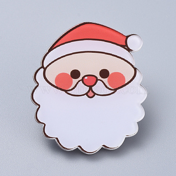 Acrylic Safety Brooches, with Iron Pin, For Christmas, Santa Claus, White, 41x36x8mm; Pin: 0.8mm(X-JEWB-D006-A03)