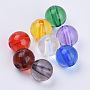 Transparent Acrylic Beads, Round, Mixed Color, 29.5x29.5mm, Hole: 3.5mm; about 32pcs/500g