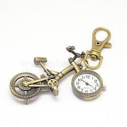 Rétro porte-clés accessoires alliage vélo montre à quartz pour porte-clés, avec mousquetons en alliage, bronze antique, 98mm(WACH-M108-06AB)