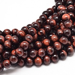 Natural Red Tiger Eye Round Bead Strands, Dyed & Heated, 8mm, Hole: 1mm; about 49pcs/strand, 16inches