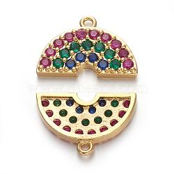 pendentifs demi-cercle en laiton zircon cubique micro pavé, demi-tour, coloré, or, 11x17.5x2.5 mm, trou: 1.2 mm(ZIRC-E158-04G)