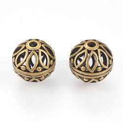 Perles en laiton, creux, ronde avec des fleurs, bronze antique, 16mm, Trou: 3mm(X-KK-K176-22AB)
