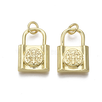 Brass Pendants, with Jump Ring, Nickel Free, Lock with Saint Benedict, with Word CssmlNdsmd, Real 18K Gold Plated, 19x12.5x3mm, Hole: 3mm(X-KK-R133-003-01G-NF)