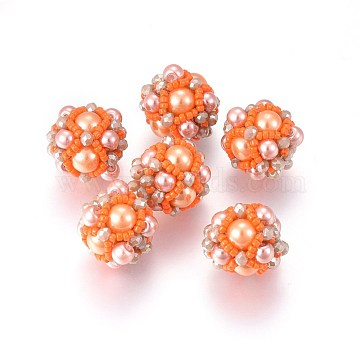 14mm OrangeRed Round Glass Beads