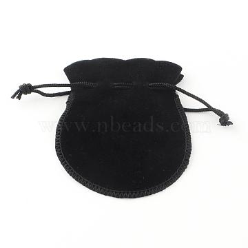 Velvet Jewelry Bag, Black, 90x70mm(X-TP-S003-4)