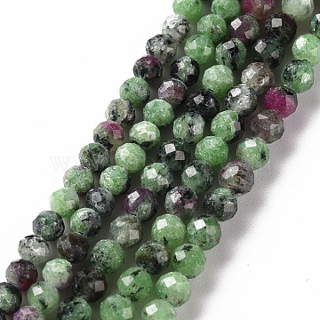 Natural Ruby in Zoisite Beads Strands, Round, Faceted, 3mm, Hole: 0.5mm, about 116~133pcs/strand, 15.35 inches(39cm)(G-S362-109B)