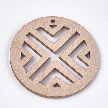 Dyed Wood Big Pendants, Flat Round, BurlyWood, 50x2~2.5mm, Hole: 2mm(X-WOOD-T016-01A)