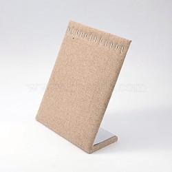 Collier de bois présentoirs, avec toile de chanvre et les accessoires en fer, burlywood, 25x20x8.2 cm(NDIS-N010-01)