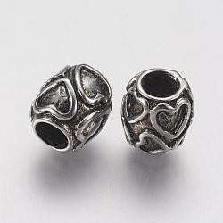 Supports d'émail en perle européenne en 304 acier inoxydable, Perles avec un grand trou   , tambour avec le coeur, argent antique, 10x9mm, Trou: 4.5mm(STAS-J022-133AS)