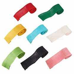 Rouleaux de lin en dentelle, rubans de jute pour création des crafts, couleur mixte, 60 mm; 2 m / rouleau, 1roll / couleur, 8 rouleaux / set(PH-DIY-G005-16)