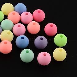 Jet rond peint perles acryliques fluorescentes, couleur mixte, 10mm, trou: 2 mm; environ 1020 pcs / 500 g(MACR-R554-15)