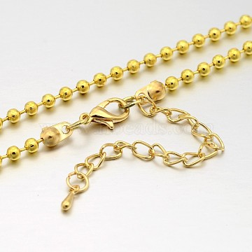 Iron Ball Chain Necklace Making, with Brass Lobster Claw Clasps and Iron End Chains, Light Gold, 29.1 inches(MAK-J009-04KCG)