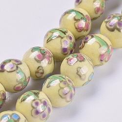 """Chapelets de perles en porcelaine manuelle, ornement d'or, ronde avec des fleurs, verge d'or, 12.5~13mm, trou: 1.5mm; environ 33 pcs/chapelet, 15.66"""" (39.8 cm)(PORC-L033-027)"""