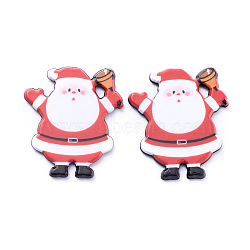 Painted Acrylic Cabochons, for Christmas, Santa Claus, Red, 33x29x2.5mm(X-KY-D011-07)
