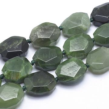 18mm Oval Green Jade Beads