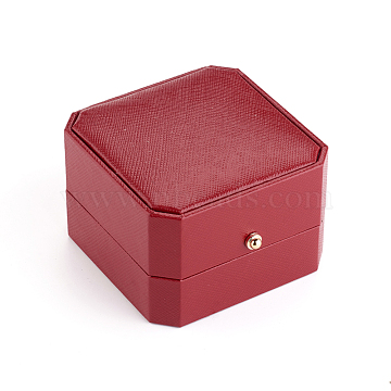 PU Leather Necklace Gift Boxes, with Golden Plated Iron Button and Velvet Inside, for Wedding, Jewelry Storage Case, Red, 7.1x7.1x4.8cm(X-LBOX-L005-D04)