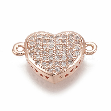 16mm Clear Heart Brass+Cubic Zirconia Links