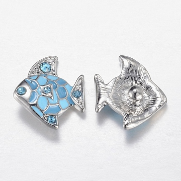 Alloy Rhinestone Snap Buttons, Jewelry Buttons, Enamel Style, Fish, Platinum, Light Sky Blue, 18x21x7mm(X-SNAP-R029-03P)