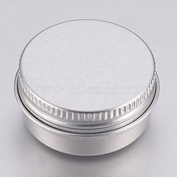 Round Aluminium Tin Cans, Aluminium Jar, Storage Containers for Cosmetic, Candles, Candies, with Screw Top Lid, Platinum, 3.55x1.8cm; Capacity: 10ml(0.34 fl. oz)(CON-L007-05C)