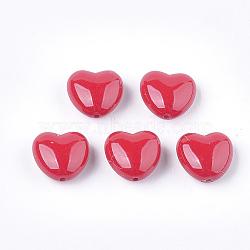 Perle en plastique environnementale d'imitation perle, haut lustre, cœur, rouge, 9.5x10x5.5mm, Trou: 1.2mm(X-MACR-T029-01)