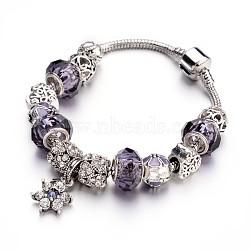 Bracelets européens de mode en laiton, avec des perles de verre et perles en alliage de strass, lilas, 190x3mm(BJEW-L583-01D)