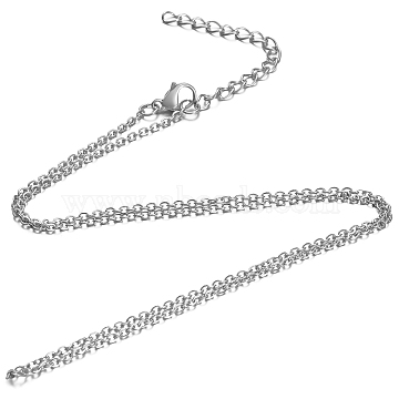 304 Stainless Steel Cable Chain Necklace, with Lobster Claw Clasps, Stainless Steel Color, 19.6 inches(50cm); 1.6mm(STAS-T040-PJ204-50)