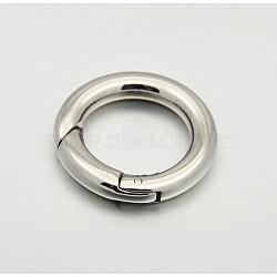 Anneau lisse 304 porte-ressort en acier inoxydable, o bagues, mousquetons, couleur inoxydable, 18x3.5mm(STAS-E073-06-A)