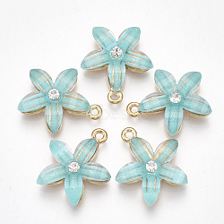Light Gold MediumTurquoise Flower Alloy+Resin Pendants(PALLOY-S177-01A)